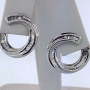 14k Swirly Hoops w/ Baguettes