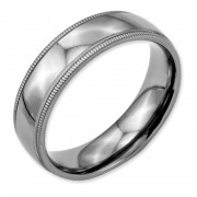 Titanium Grooved And Beaded Edge 6mm Polished Band