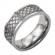 Titanium Weave Design 8mm Polished Band
