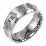 Titanium Beveled Edge 8mm Laser Design Brushed & Polished Band