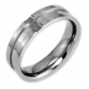 Titanium Grooved 6mm Polished Band