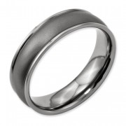 Titanium Ridged Edge 6mm Satin And Polished Band