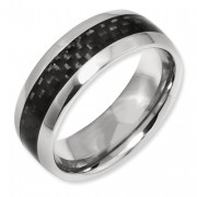 Titanium Black Carbon Fiber 8mm Polished Band
