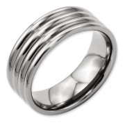 Titanium Grooved 8mm Polished Band