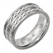 Titanium Sterling Silver Inlay 8mm Brushed And Antiqued Band
