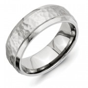 Titanium 8mm Beveled Edge, Hammered And Polished Band