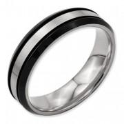 Titanium Beveled Edge 6mm Black IP-Plated Satin/Polished Band