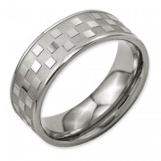 Titanium 8mm Satin And Polished Checkered Band