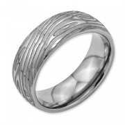 Titanium 8mm Woodgrain Brushed And Polished Band