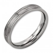 Titanium 4mm Brushed And Polished Roman Numerals Band