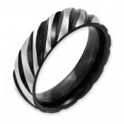 Titanium 6mm Black IP-Plated Swirl Brushed & Polished Band