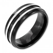 Titanium Grooved 8mm Black IP-Plated Brushed & Polished Band