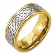 Titanium 8mm Scroll Design Yellow IP-Plated Grooved Edge