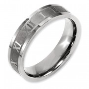 Titanium Roman Numerals 6mm Satin & Polished Flat Band