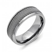 Titanium Base With Stainless Steel Mesh Center 8mm Band
