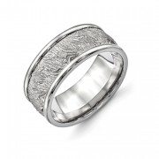 Titanium Polished 9.10mm Textured Rounded Edge Ring