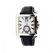 Eco-Drive Stainless Steel White Dial Leather Strap Watch
