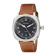 Men's Classic Brown Genuine Leather Black Dial