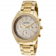 Caravelle New York by Bulova Women's Chronograph Gold-Tone Stainless Steel Bracelet Watch