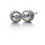 Sterling Silver Earrings Princess Stud with AB Crystals