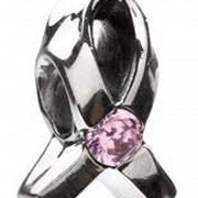 "Charm ""Breast Cancer"" – Light Pink CZ"