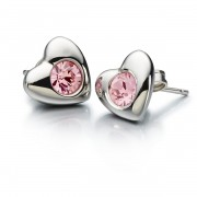 Sterling Silver Earrings Radiant Heart w/ Pink Swarovski