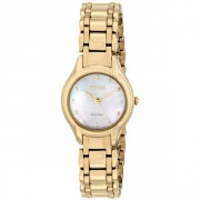 Eco-Drive Silhouette Analog Display Gold Watch