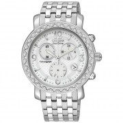 """Eco-Drive"" Stainless Steel Swarovski-Crystal Accented Watch"