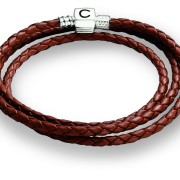 Cognac/Brown Braided Leather Wrap Bracelet