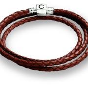 Cognac/Brown Braided Leather Wrap Bracelet