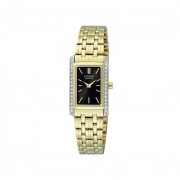CITIZEN LADIES GOLD STAINLESS STEEL QUARTZ SWAROVSKI DRESS WATCH
