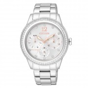 CITIZEN LADIES STAINLESS STEEL ECO-DRIVE SWAROVSKI DRESS WATCH