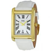 Silver Dial White Leather Strap