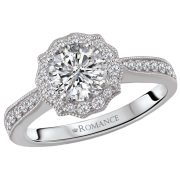 Romance 18kt white gold halo mounting