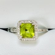 14kt W.G. DIAMOND PERIDOT RING