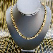 YELLOW GOLD FLAT BYSANTINE CHAIN