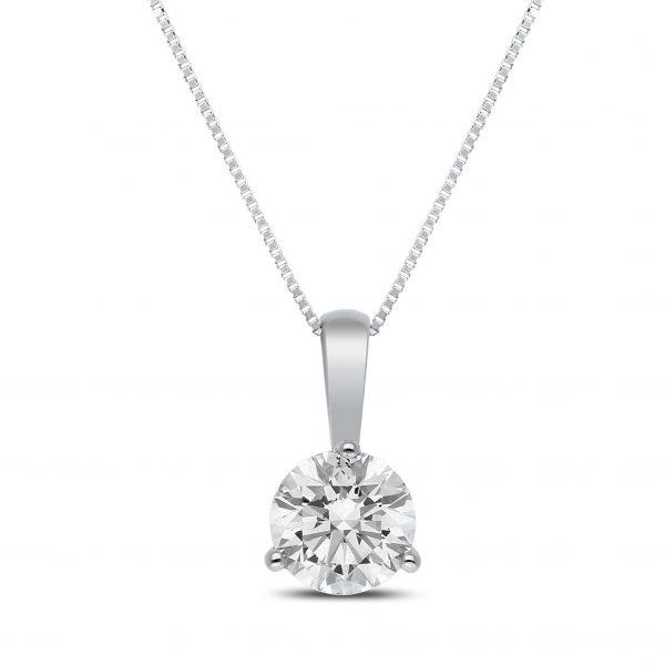 Taya Diamond Pendant in White Gold - madeinUSAdiamonds