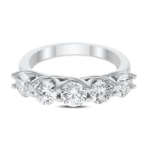 Five Stone Diamond Ring in White Gold - madeinUSAdiamonds