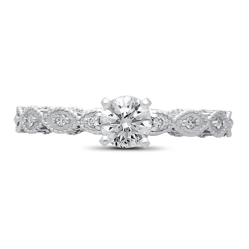 Freeda Diamond Ring in White Gold - madeinUSAdiamonds