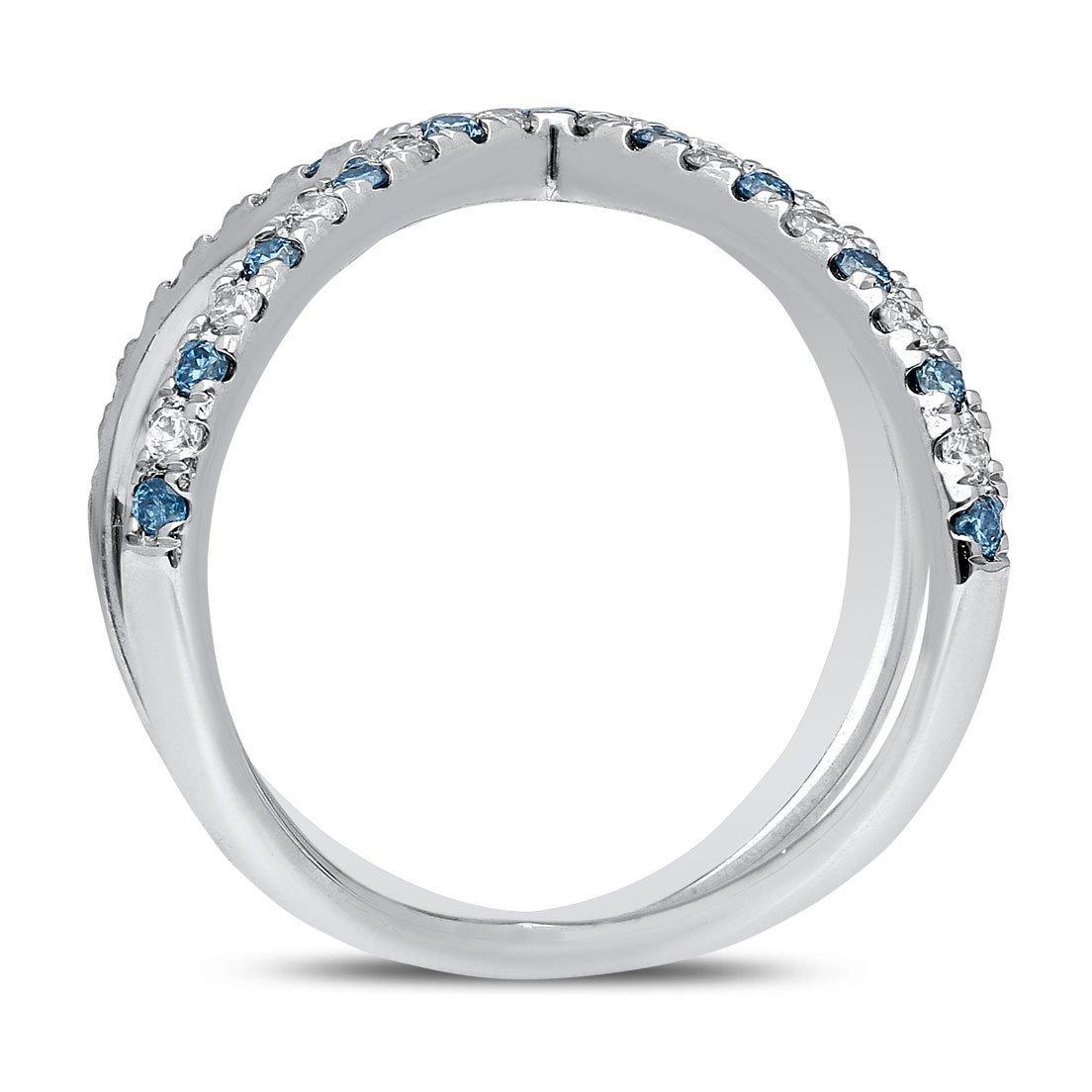 Blue Cosmos Diamond Ring In White Gold - madeinUSAdiamonds
