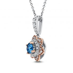 Blue Flora Diamond Pendant in White and Rose Gold - madeinUSAdiamonds