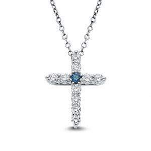 Blue Elpis Diamond Pendant in White Gold - madeinUSAdiamonds