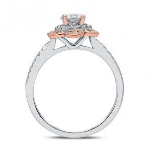 White Flora Diamond Ring in White and Rose Gold - madeinUSAdiamonds